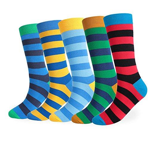 Lmzyan 5 Paires de Chaussettes Rayã©ES de Couleur de Longue Section, Chaussettes absorbantes de Sueur des Hommes, Colors and Five Pairs, 39-43