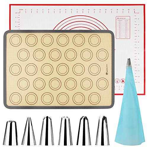 Lemecima Tappetini da Forno in Silicone, Extra Grande Tappetino da Cucina per Impasto, Antiaderente, Resistente al Calore, Facile da Pulire, Riutilizzabile