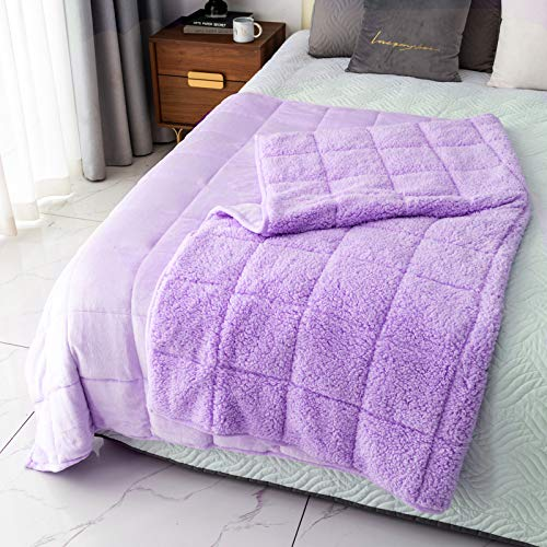 Mr.Sandman Sherpa Weighted Blanket Adults 15lbs for Queen Size Bed, Comfy Fleece Throw Blanket with Premium Ceramic Beads - Dual-Sided Purple - 60'x80'