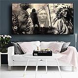 KWzEQ Retrato de Cartel de Pintura indígena indígena en Blanco y Negro Lienzo escandinavo Arte Pared Sala Pintura,Pintura sin Marco,45x90cm