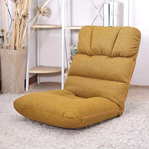 WAYTRIM Indoor Adjustable Floor Chair 5-Position Folding Padded Kids Gaming Sofa Chair, Perfect for Meditation, Reading, TV Watching, Sallow
