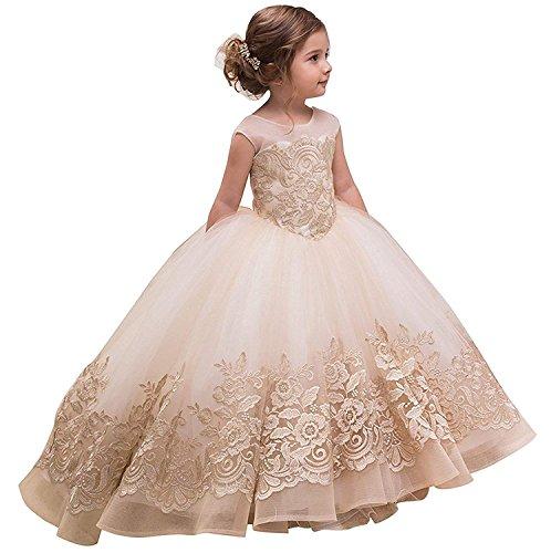 CLLA dress Mädchen Hochzeit Fest Blumenmädchenkleid Kinderkleid Mädchen Applikationen Kommunionkleid Prinzessin Kleid(Champagner,5-6 Jahre)