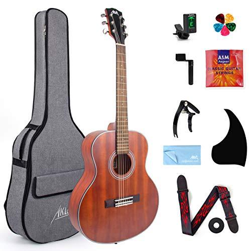 Guitarra acústica clásica AKLOT, guitarra acústica de viaje con cuerda clásica caoba de 36 pulgadas con correa de sintonizador de bolsa de concierto