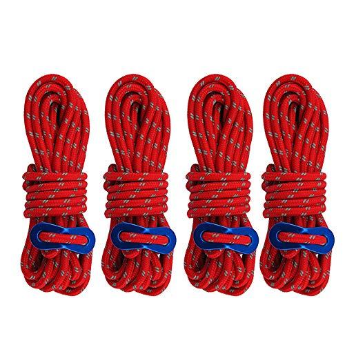 longyisound 4 cuerdas tensoras reflectantes con hebilla, cuerdas tensoras para tienda de campaña, cuerda tensora roja para tienda de campaña, camping, senderismo (diámetro 4 mm x longitud 4 m)