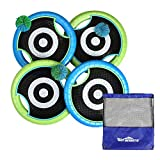 Win SPORTS Outdoor Trampoline Paddle Ball Set for 4 Players - Includes 4 Rackets, 3 Rubber String Balls,1...