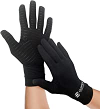 Copper Compression Full Finger Arthritis Gloves. Highest Copper Content Guaranteed. Best Copper Infused Fit Gloves for Carpal Tunnel, Computer Typing, Support for Hands. 1 Pair of Gloves (Large)