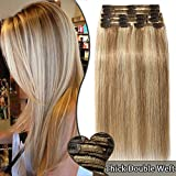 Extensions a Clip Cheveux Naturel Maxi Volume 8 Bandes - Rajout Double Weft Cheveux Humain (#12+613 MARRON CLAIR MECHE BLOND CLAIR, 10 pouces/25cm-110g)