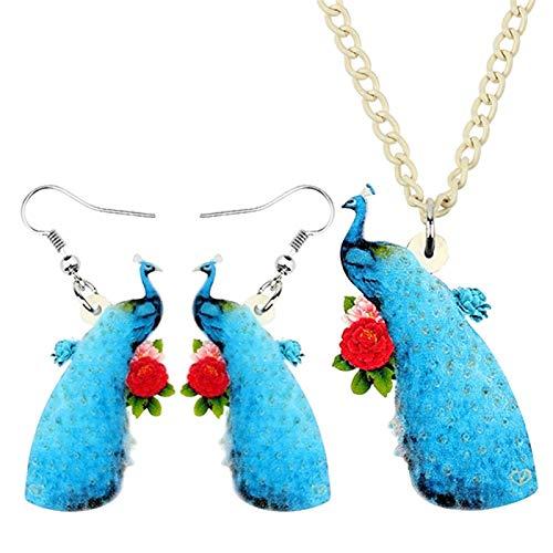 Acrílicas Elegantes Sistemas De La Joyería De Los Pendientes Del Collar De La Flor De Pavo Real Azul Dulces For Niños De Chicas Adolescentes Encantos Decoración De Fiesta Regalo Nixx0 ( Color : A )