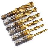 Brocas para rosca HSS macho de roscar grifo para taladro set de hexagonales drills de vástago Perforación,1/4'Vástago HSS Tornillo Manual,M3 M4 M5 M6 M8 M10,6 piezas