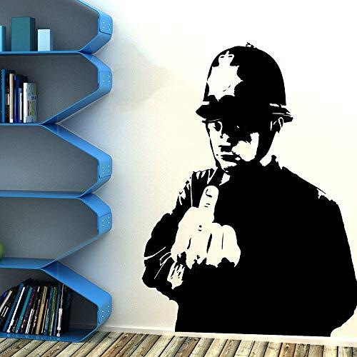 Rude Mittelfinger Polizei Wandaufkleber Wohnzimmer Schlafzimmer Graffiti Street Culture Polizei Vinyl Wandtattoo Dekoration 81x61cm