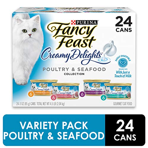 Purina Fancy Feast Wet Cat Food Variety Pack, Creamy Delights Poultry & Seafood Collection - (24) 3...