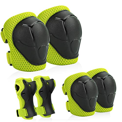 Kids Protective Gear, Knee Pads and Elbow Pads with Wrist Guard Skateboard Accessories for Skating Skateboard Cycling Rollerblading Scooter Bike for Kids 2-7 Years (Green)