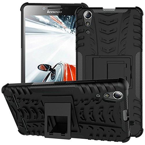 TiHen Handyhülle für Lenovo A6000 Plus Hülle, 360 Grad Ganzkörper Schutzhülle + Panzerglas Schutzfolie 2 Stück Stoßfest zhülle Handys Tasche Bumper Hülle Cover Skin mit Ständer -Schwarz