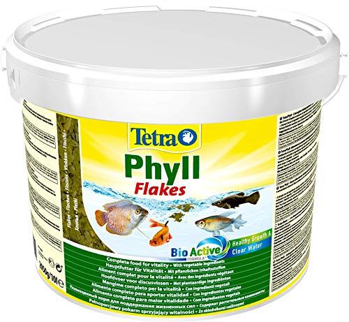 TetraPhyll (Hauptfutter für alle pflanzenfressenden Zierfische, mit lebenswichtigen Ballaststoffen plus Präbiotika), 10 Liter Eimer
