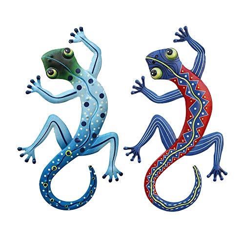 Gecko-Wanddekoration aus Metall, 16,5 x 29 cm, Gecko-Dekoration für Hof, Zaun, Garten, Haus, Außen- und Innenbereich, Wand-Skulpturen, 2er-Set, 2 pcs