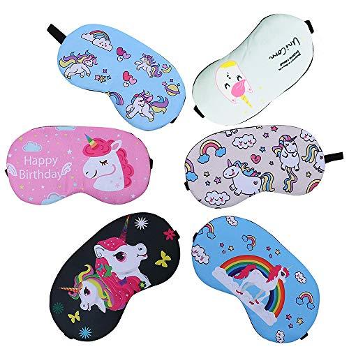 CKANDAY 6 Stücke Mode Einhorn Schlafmaske Augenbinde Schlafmaske Leichte Augenmaske Abdeckung für Männer Frauen Kinder