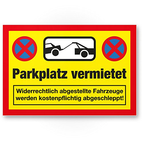 Parkplatz vermietet Kunststoff Schild (30 x 20cm), Parkverbot SchildParken Verboten, Hinweisschild Privatparkplatz reserviert - freihalten, Parkplatzschild vermietet - Falschparker