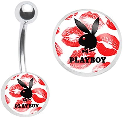 Officially Licensed Red Kisses Playboy Bunny Belly Navel Ring Piercing bar Body Jewelry 14g