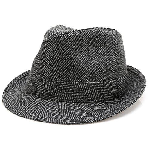 MIRMARU Men's Wool Blend Short Brim Trilby Fedora Hat with Band(Herringbone Charcoal,SM)