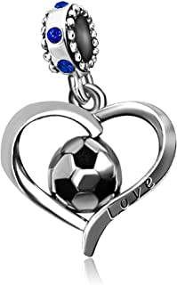 JMQJewelry Heart Football Love Soccer FIFA World Cup Sport Dangle Charms Beads for Bracelets