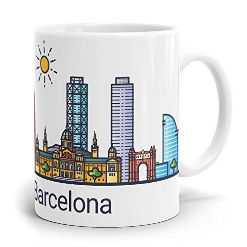 Drucksaal Tasse-Becher-Kaffeetasse-Kaffeebecher-Skyline-Stadt-Städte-Ansicht Skyline Barcelona