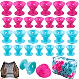 SIQUK 110 Pcs Silicone Hair Curlers Blue and Pink Magic Hair Rollers Set Including 54 Pcs Large Hair Curlers and 54 Pcs Small Hair Rollers(Bonus: 1 Pc Transparent Zipper Bag2 Pcs Black Wig Cap)