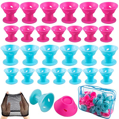 SIQUK 110 Pcs Silicone Hair Curlers Blue and Pink Magic Hair Rollers Set Including 54 Pcs Large Hair Curlers and 54 Pcs Small Hair Rollers(Bonus: 1 Pc Transparent Zipper Bag,2 Pcs Black Wig Cap)
