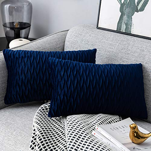 Yamonic Pack of 2 Cushion Cover Super Soft Velvet Pillow Covers Square Decorative Pillowcase for Sofa Bed Couch Bench, 12 x 20 inch, Navy blue