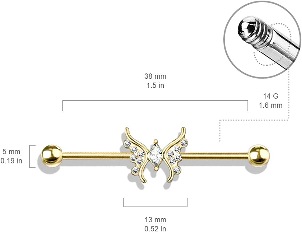 Amelia Fashion 14 Gauge Marquise Crystal Center Crystal Paved Butterfly 316L Surgical Steel Industrial Barbell (Choose Color)