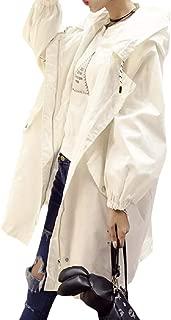 EnergyWomen Smocked Waist Zip Hoodie Mid-Long Pockets Printed Coat Jacket