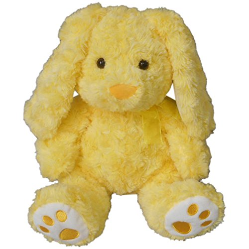 """Adorable Soft Easter Bunny! (Color: Yellow """"Swirl"""") 100% Polyester with Embroidered Feet"""