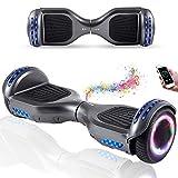 Wind Way Hoverboard 6.5 Pouces avec Bluetooth et Lumière Skateboard Électrique Moteur 700W Batterie 36V Gyropode Auto Équilibré Pas Cher avec Sac et Télécommande pour Enfant et Adulte - Gris