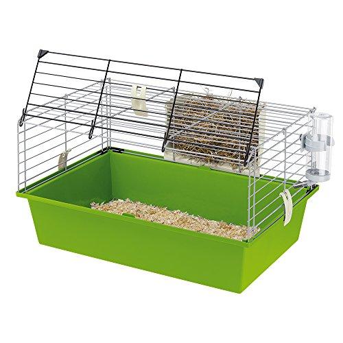 Ferplast Käfig für Meerschweinchen Cavie 60, Sicherheitsverriegelungssystem, Mitgeliefertes Zubehör, Grau lackiertes Metallgitter und Kunststoffboden, 58 x 38 x 31,5 cm