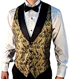 Men's Gold Metallic Tuxedo Vest with Black Lapel and Black Bow Tie Set-Large