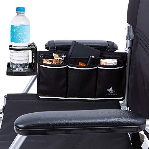 Rollstuhl-Seitentasche mit großem Getränkehalter - Armlehnen-Tasche und Getränkehalter - Rollstuhlzubehör Organizer und Wasserflaschenhalter passend für Walker, Rollatoren für Senioren und Handicap