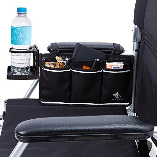 Wheelchair Side Bag with Large Cup Holder - Arm...