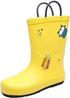Kids Waterproof Easy-on Rain Boots Rubber Cartoon Print Rain Shoes