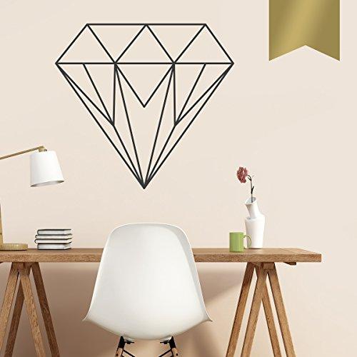 WANDKINGS Wandtattoo - Origami-Style Diamant - 50 x 46 cm - Gold - Wähle aus 5 Größen & 35 Farben