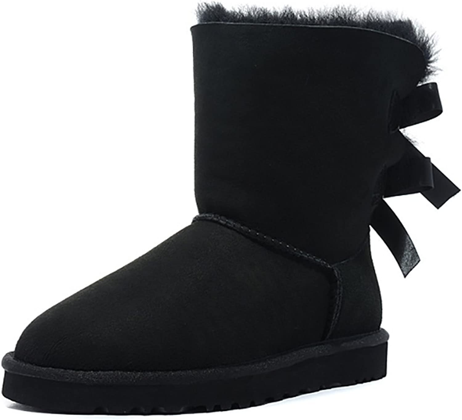 VOCOSI Women's Comfy Winter Faux Furry Leather Ankle Booties Bowknot Low Heels Snow Boots shoes