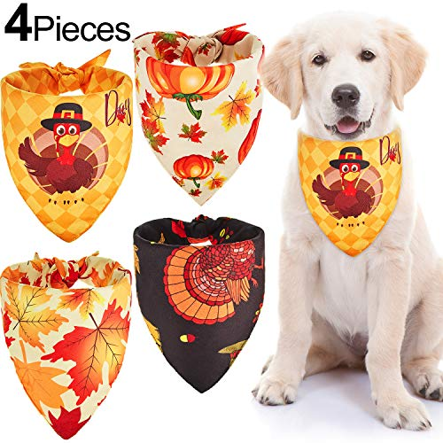 4 Pieces Double Fabric Thanksgiving Dog Bandanas Pumpkin Dog Scarf Triangle Pet Bandanas Washable Maple Leaf Dog Bibs for Thanksgiving Pet Costume