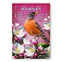 MICHIGAN BIRD AND FLOWER postcard set of 20 identical postcards. MI state symbols post cards. Made in USA. [並行輸入品]