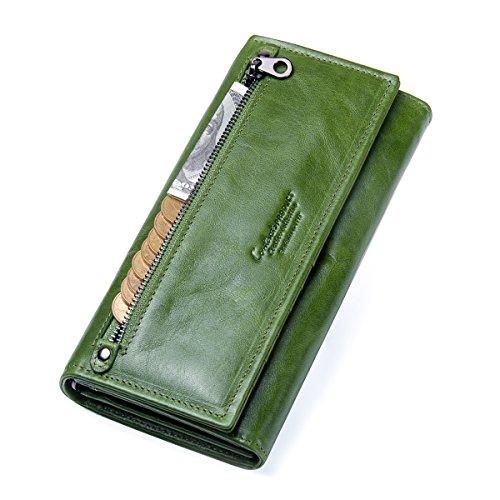 Contacts Portafoglio borsellino portafogli donna in vera pelle bifold con portamonete (Verde)