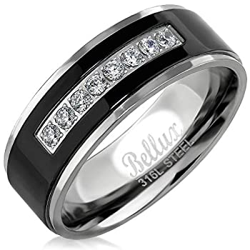 Bellux Style Stainless Steel Mens Wedding Bands Promise Rings for Him Silver Black Comfort-Fit Engagement Jewelry  US Size 9