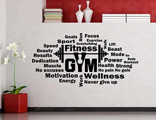 Diuangfoong Fitness Wall Decal Word Cloud Gym Motivational Barbell Vinyl Sticker Sport Workout Poster Home Room Inspirational Art Decor Mural