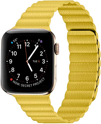 Danwon Compatible with Apple Watch Leather Link Band 40mm/38mm,44mm/42mm Series 6, Strong Magnetic Adjustable Leather Strap with Flexible Molded Magnets for iWatch Series SE 5/4/3/2/1 (42mm/44mm, Yellow)