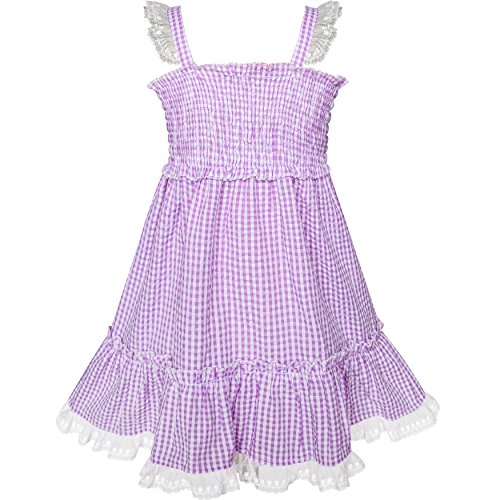 Sunny Fashion Robe Fille Pourpre Réservoir Smocks Ébouriffer Jupe Robe d'été 2 Ans