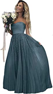 Jonlyc Sparkly A Line Sweetheart Sequined Tulle Long Prom Bridesmaid Dress