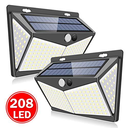 SYOSIN Lampada Solare da Esterno,208 LED Luminosa Luci Solari con Sensore di Movimento, Wireless Impermeabile Lampade Solari a Led da Esterno con Grandangolo 270°, per cortile per esterni(2 pacchi)