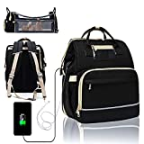 Diaper Bag Backpack with Changing Station, 6 in 1 Travel Bassinet Baby Bed with Sunshade, Baby Backpack Folding Crib, Multifunctional Mummy Bag, Large Capacity, USB, Headphone Port(Black)
