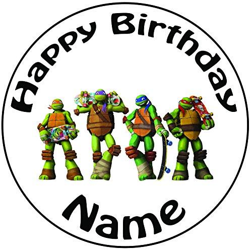 Personalisierter TMNT Teenage Mutant Ninja Turtle Skateboard Zuckerguss Kuchen Topper / Kuchendekoration - 20 cm Großer Kreis - Jeder Name Und Jedes Alter